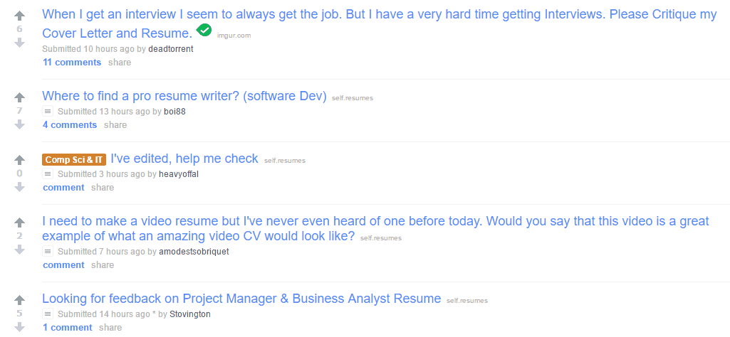 The /r/resumes Subreddit At Reddit