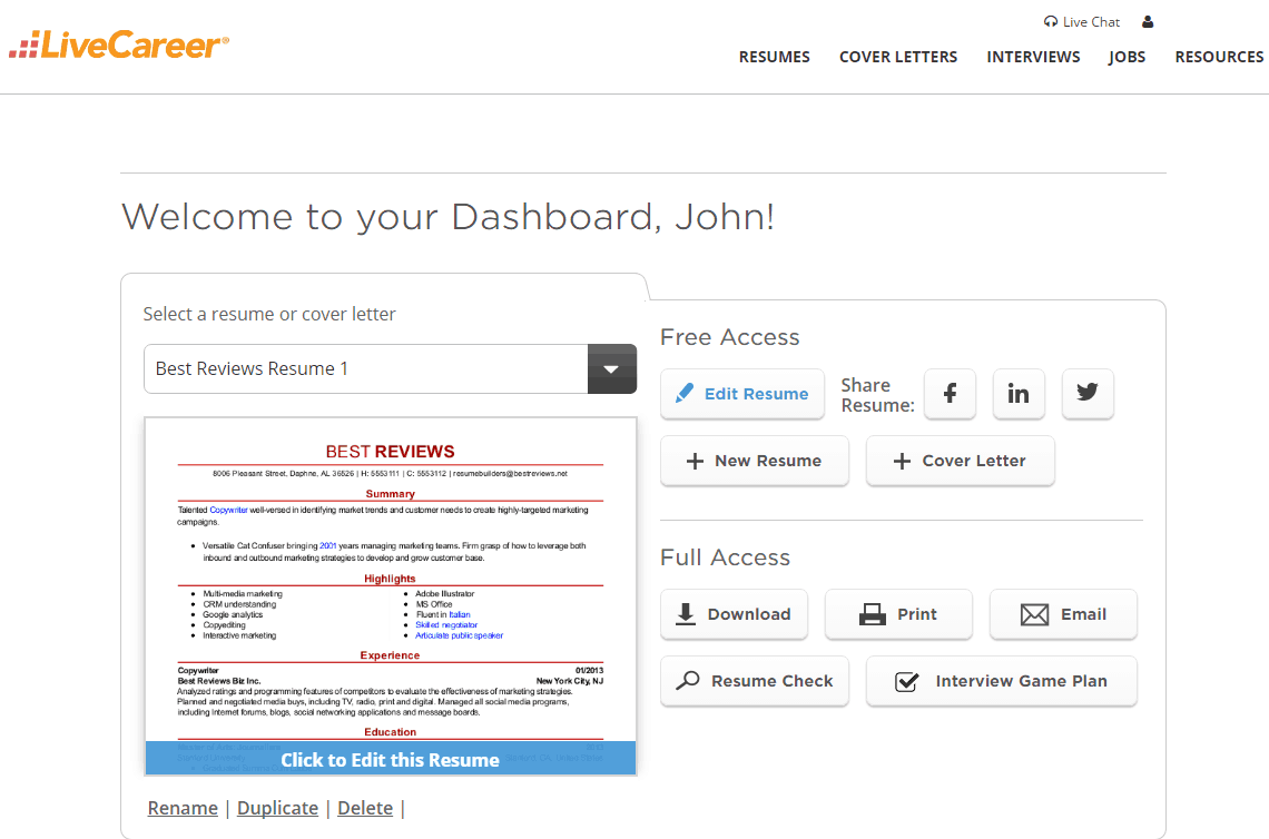 Dashboard Of LiveCareer  Resume Livecareer Login