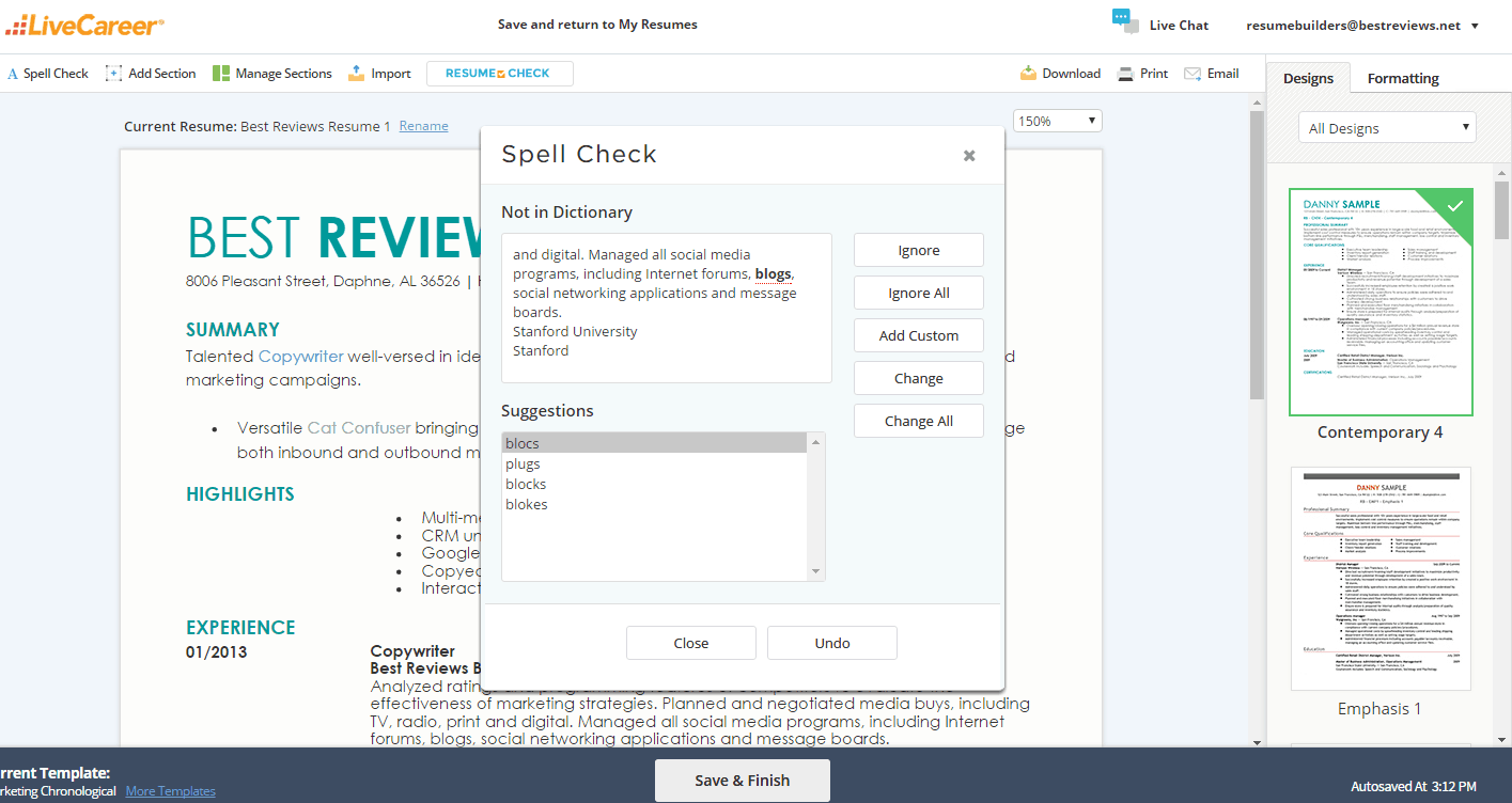 LiveCareer Resume Setup Spell Checker