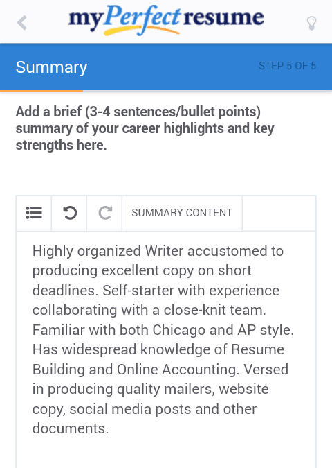 resume editing in my perfect resumes mobile version
