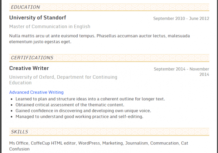 Online Course Details in a Resume