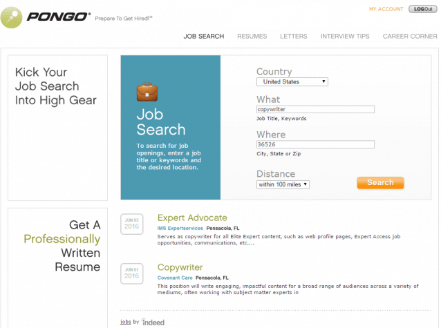 Pongo Job Search Engine