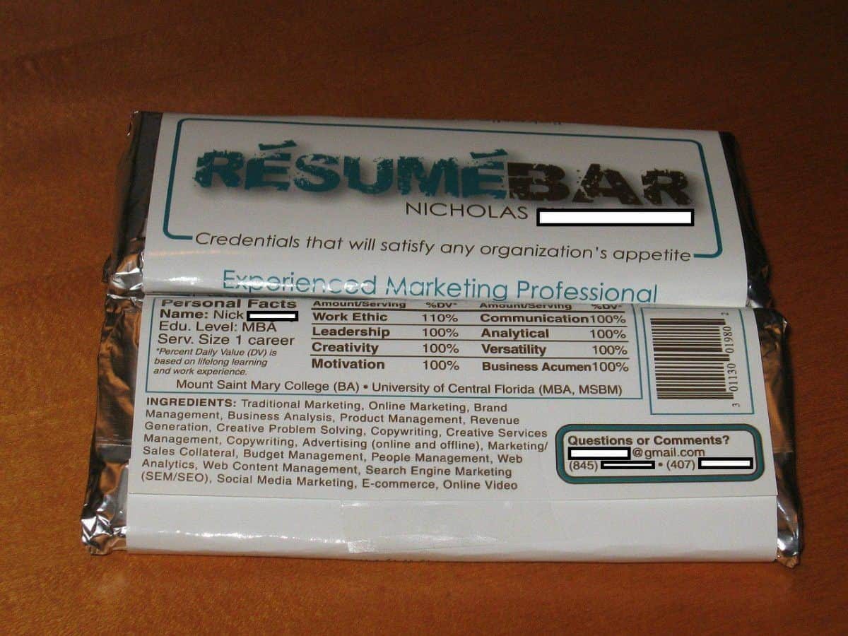 Remarkable Resume Candy Bar