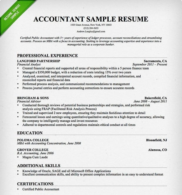 Resume Examples For Accountants By Resume Genius  Resume Accounting