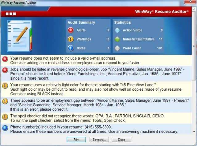 Winway Resume Deluxe Auditor