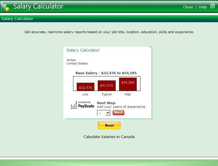 resumemaker professional salary calculator