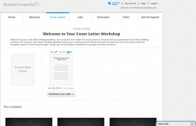 Resume Companion's Cover Letter Editor