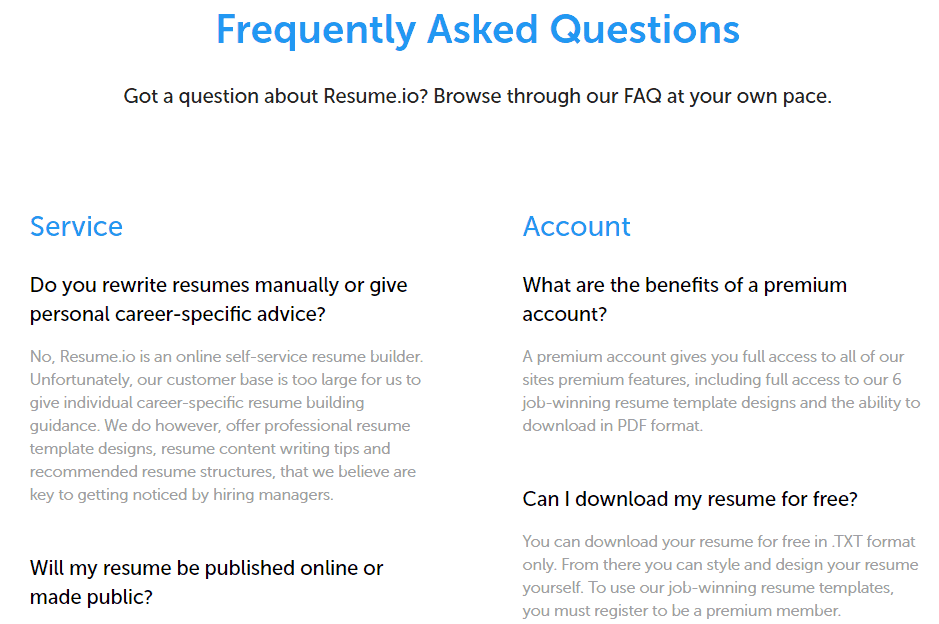 Resume.io's FAQ