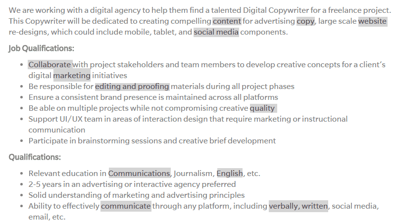 Copywriter Keywords On An Indeed.com Job Posting  Job Qualifications