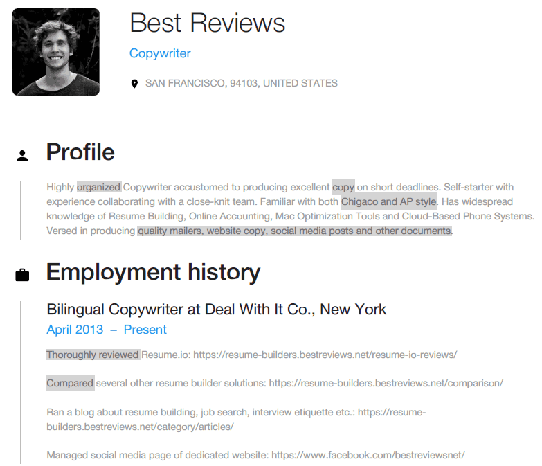 Use of Copywriter Keywords in a Resume.io CV