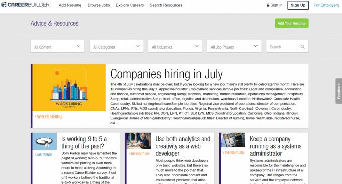 CareerBuilder Advices & Resources