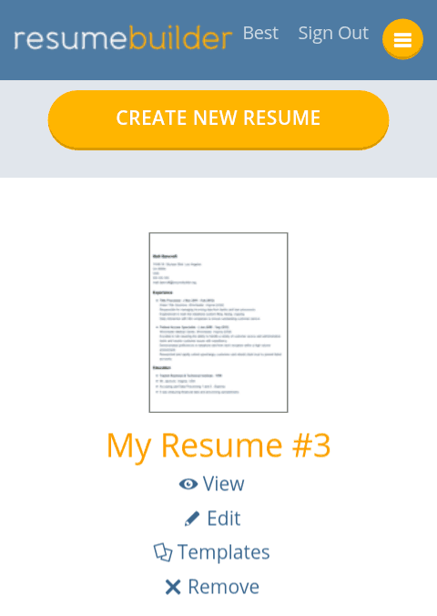 dashboard in resumebuilderorgs mobile version - Mobile Resume Builder