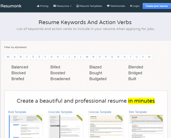 Resumonk Resume Keyword Search