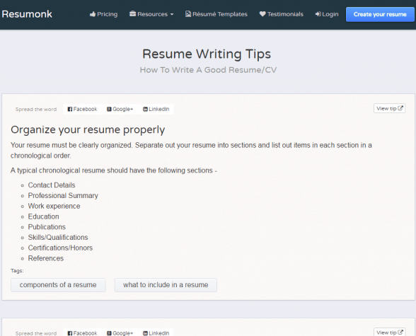 Resumonk Resume Writing Tips