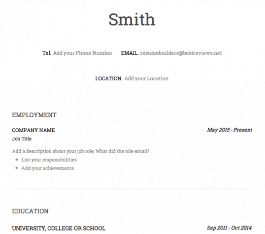 Speedy Resume Free Template