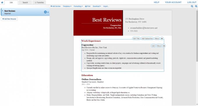 Super-Resume's Resume Editor