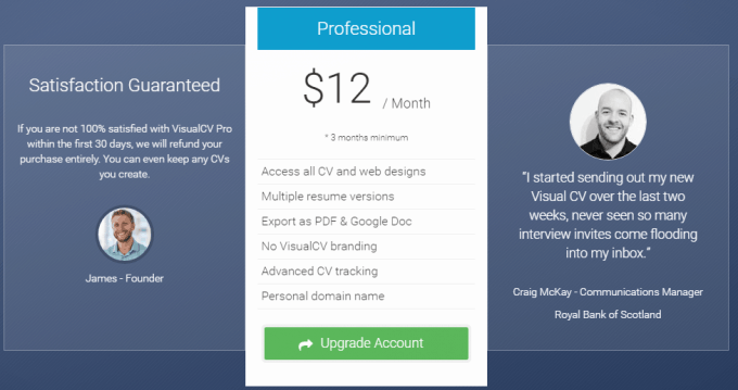 Pricing Plans of VisualCV